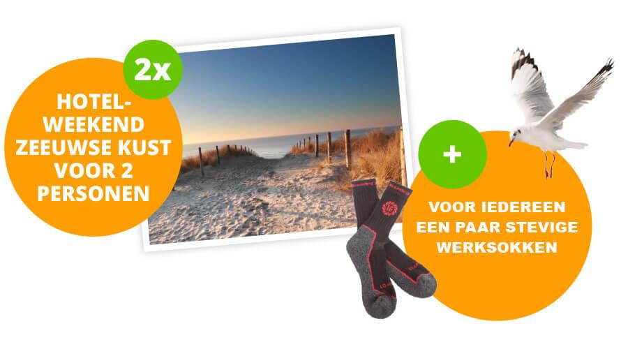 Kom in aanmerking voor een weekend zeeuwse kust voor 2 en een gratis paar wintersokken